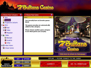 Screenshot of 7 Sultans Casino Lobby