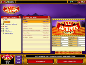 Screenshot of All Jackpots Casino Lobby