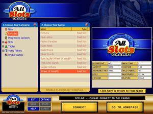 Screenshot of All Slots Casino Lobby