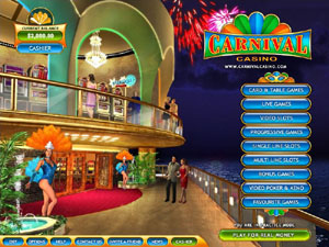 Screenshot of Carnival Casino Lobby