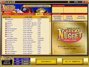 Screenshot of Lucky Nugget Casino Lobby