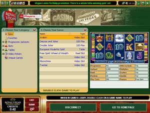Screenshot of Royal Vegas Casino Lobby